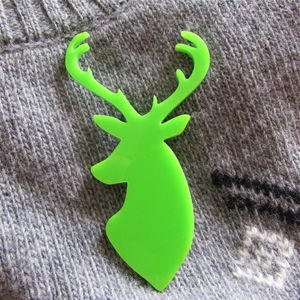 Stag Head Christmas Brooch Pin Neon Green
