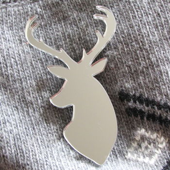 Stag Head Christmas Brooch Mirrored Silver