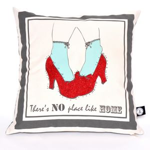 "Glitter Cushion ""There's No Place Like Home.' - embroidered & beaded cushions"