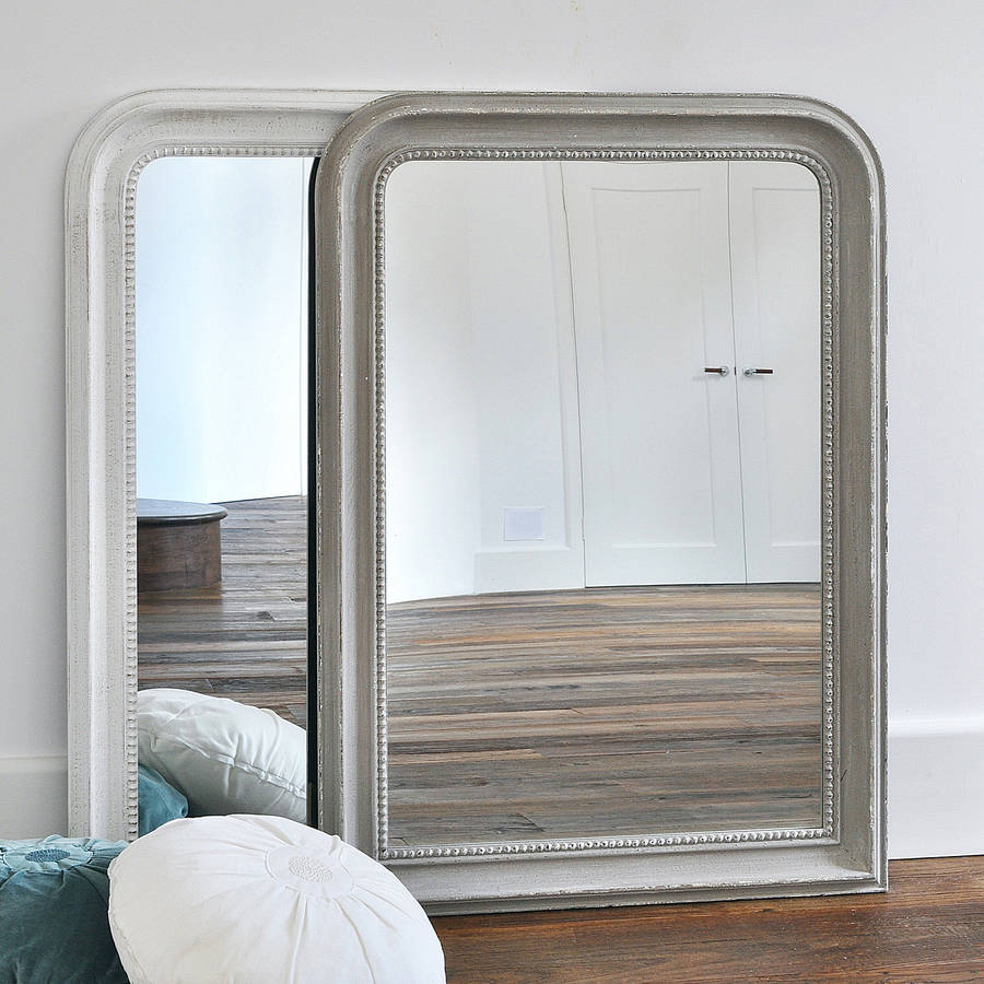 Beaded Wall Mirror White Or Grey By Primrose & Plum ... on Wall Mirrors id=71512