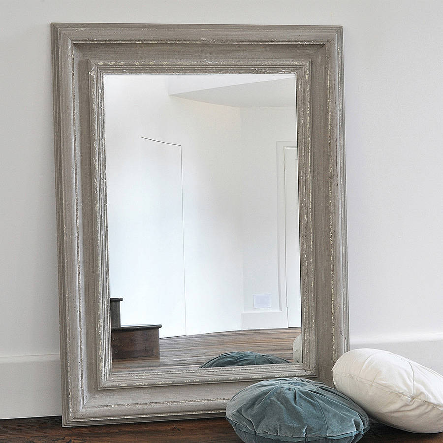 Chunky Antique Grey Wooden Mirror By Primrose Amp Plum