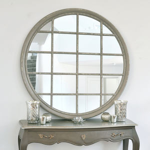 Round Grey Window Mirror