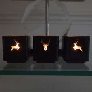 Rudolph Reindeer Swarovski Tealight Holder Set - candles & candlesticks