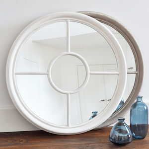 Antique White And Grey Round Window Mirror