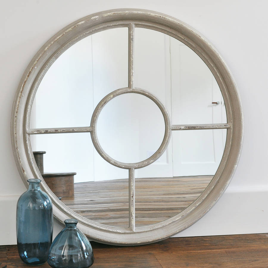 Antique white and grey round window mirror by primrose for White mirror