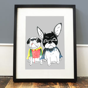 Frenchie And Pug Print - posters & prints