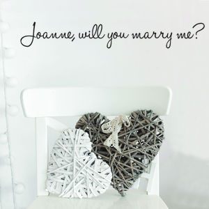 Personalised 'Will You Marry Me?' Wall Sticker