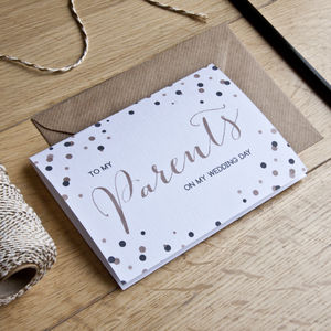'To My Parents' Wedding Day Card - thank you cards