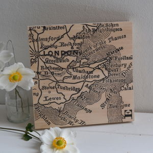 Vintage Map Printed On Wood