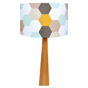 Hexagons Wooden Table Lamp - dining room