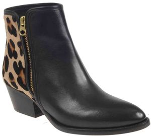 Animal Print Black Leather Boot