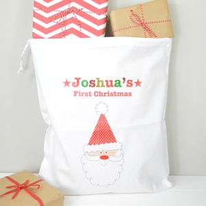 Personalised My First Christmas Small Gift Sack - stockings & sacks