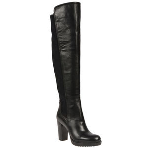 Black Leather Heeled Boot