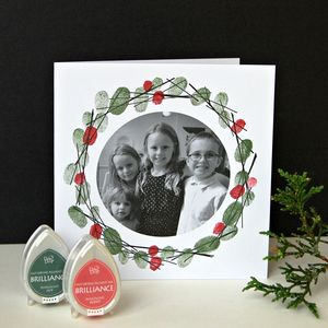 Photo And Fingerprint Christmas Wreath Cards