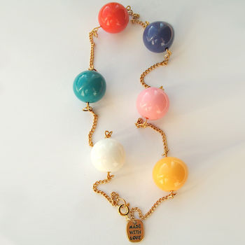 Multi Coloured Chunky Bead Necklace