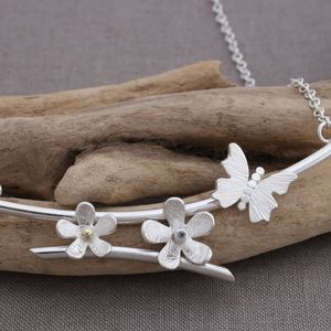 Handmade Silver And Gemstone Butterfly Daisy Necklace