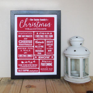 Personalised Family Christmas Traditions Print