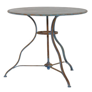 Round Distressed Garden Table In Blue