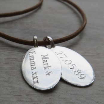 Silver Tag & Leather Cord Necklace