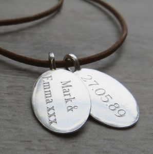 Silver Tag & Leather Cord Necklace - gifts for him
