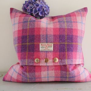 Hydrangea Harris Tweed Cushion - bedroom