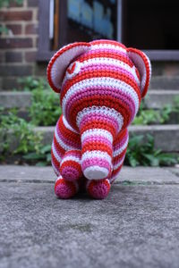 Knitted Elephant Cotton Toy With The Rattle