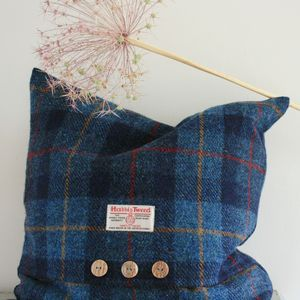 Navy Harris Tweed Cushion - bedroom