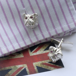 Silver British Bulldog Cufflinks With Rubies - men's accessories
