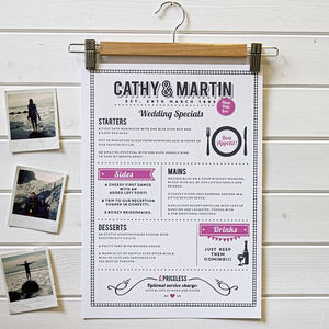 Personalised 'Couples Menu' Print