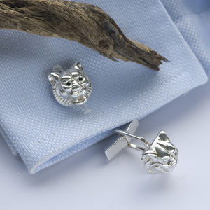 Silver Tiger Head Cufflinks With Black Diamonds - men's accessories