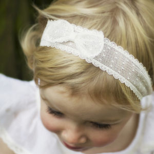 Marnie Spot Tulle Bow Christening, Flower Girl Headband - christeningwear