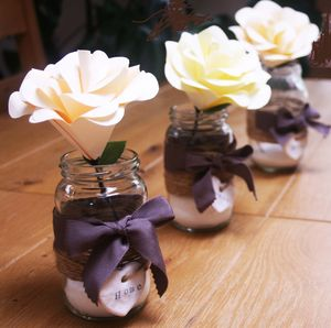 Trio Of Rose Jars - artificial flowers