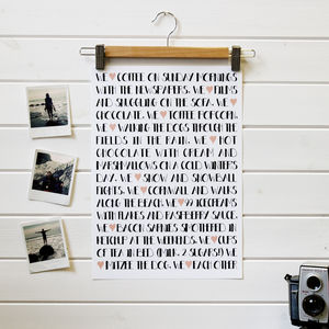 'We Heart…' Personalised Print - view all sale items