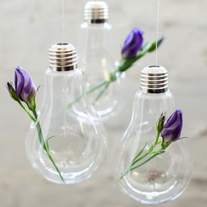 Glass Hanging Vase, Lightbulb - room decorations