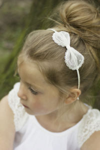 Sophia Ivory Spot Flower Girl Bow Hairband - hair accessories