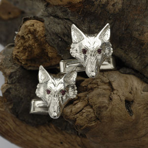 Fox Head Silver Cufflinks With Ruby Eyes - cufflinks