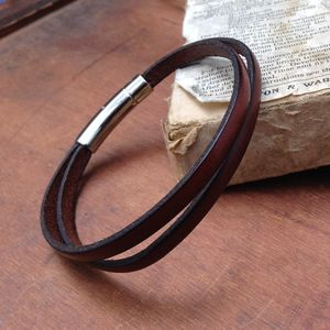 Brown Mens Wrap Leather Bracelet - men's jewellery