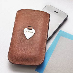 Leather Pick Pull Case For iPhone - gifts for music fans