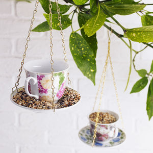 Teacup Bird Feeder - mum loves gardening