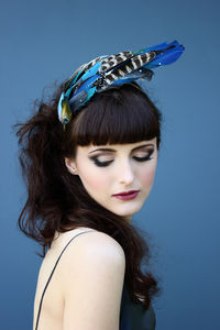 Dramatic Blue Feather Headpiece - adults