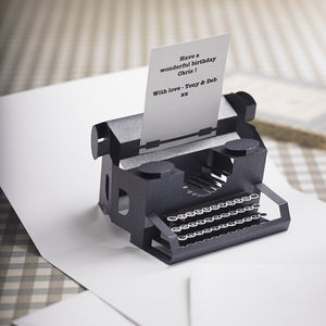 Personalised Typewriter Pop Up Card - personalised cards