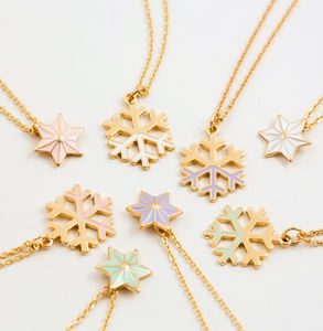 18 K Gold Enamel Star Necklace And Snowflake Necklace