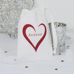 Personalised 'Heart' Wedding Favour Gift Bag - ribbon & wrap
