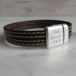 Stitched Double Strap Leather Bracelet - gifts for him