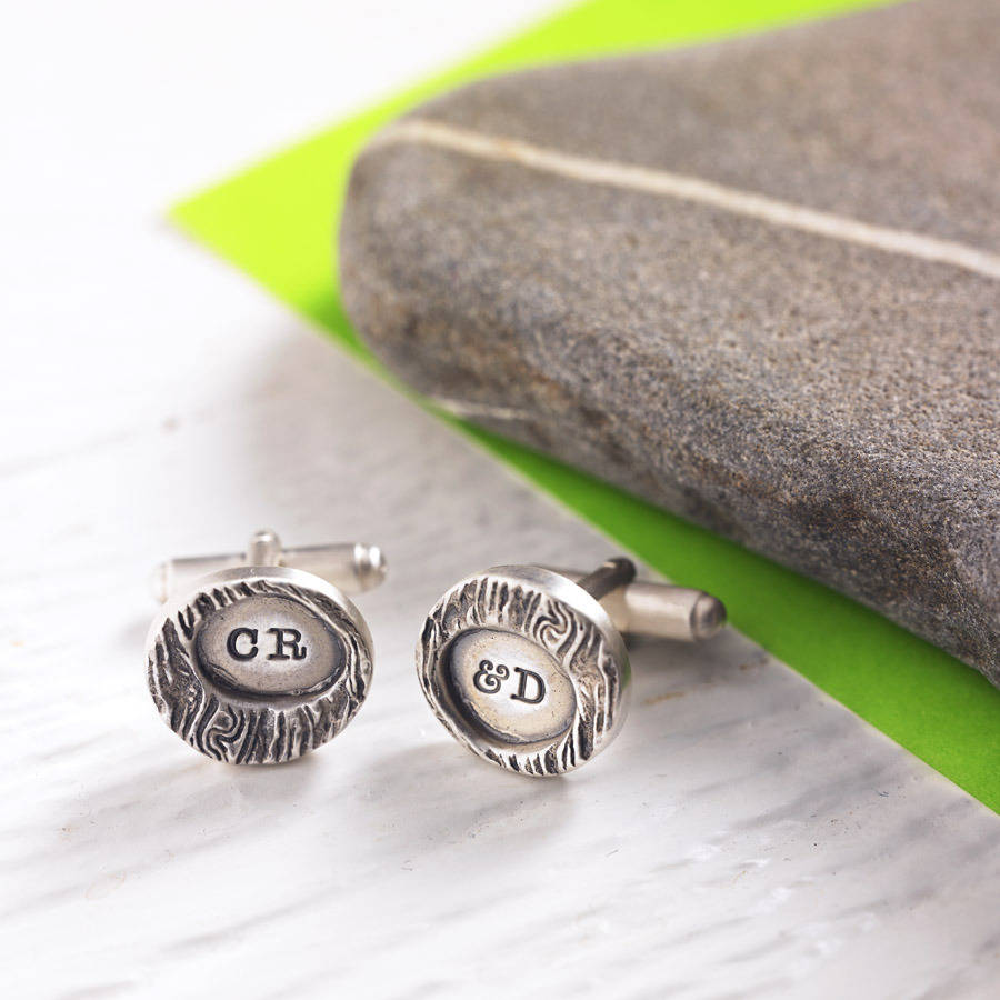 Personalised Woodgrain Silver Cufflinks