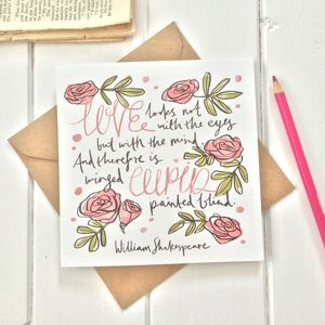 Shakespeare Valentines Day Card - cards & wrap