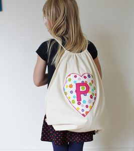 Child's Personalised Heart Kit/Gym Bag