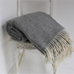 Grey And Cream Wool Throw - throws, blankets & fabric