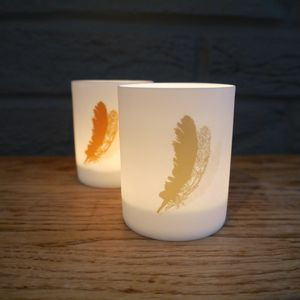 A Pair Of Fine Porcelain Feather Votives