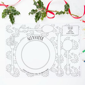 Colouring Christmas Dinner Placemats Pack - christmas home accessories
